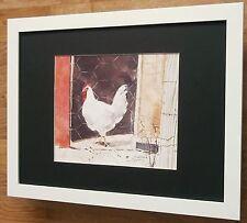 """Pollo de arte de pared, Enmarcado Gallo impresión, 12"""" 16"""" Frame, Dawna Barton"""