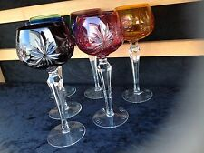 Lausitzer-Crystal-German-Cut-to-Clear-Glass-Multi-Color-Hock-Wine-Glasses x6