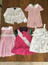 Ralph Lauren set of 4 Baby Girl Dresses and a Cardigan Sz 24 Mos Pink White Blue