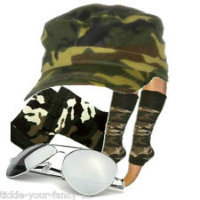 Womens Army Soldier Kit Camo Cap Leg Warmers Wristbands Glasses Fancy Dress Fun