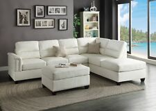 Modern White Bonded Leather Sectional Couch Sofa Ottoman Set Reversible Chaise