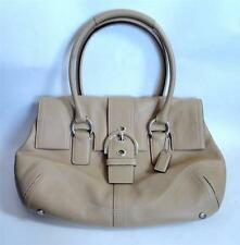 COACH Beige Leather Soho Buckle Flap Signature Hobo Satchel Tote Bag Purse 8A11
