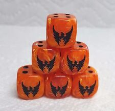 DICE - 16mm - OUR PHOENIX #1 ON THE #6 SIDE VORTEX ORANGE w/BLACK *SET OF SIX*
