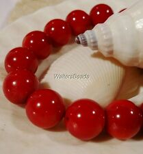 Natural Root Stem Coral Dark Ox Blood Red Treated AAA Quality Bead Strand 12MM