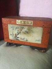 Old Chinese Yunnan PU-ERH TEA CADDY o box con PANNELLO SCENA DI FIGURINE