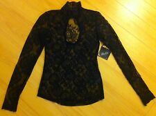 Blacklist Lip Service Shadows in Spain Black Floral Lace Shirt Top Goth Lolita S