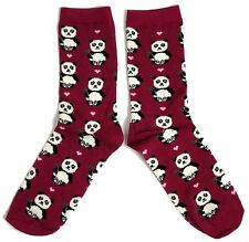 LADIES CHINESE GIANT PANDA MAGENTA SOCKS UK 4-8 EUR 37-42 USA 6-10