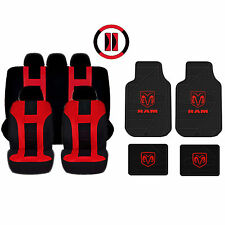 RED & BLACK DBL STITCH AIRBAG READY SEAT COVER & DODGE FACTORY RUBBER MATS SET