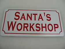 SANTA'S WORKSHOP Metal Tin Sign for Farm Barn Home Christmas Decoration