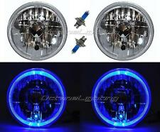 "7"" Halogen H4 12V Headlight Headlamp Blue LED Halo Angel Eyes Light Bulbs Pair"