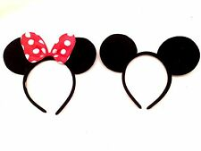 2 pcs Minnie Mickey Mouse Ears Headbands Black Red Polka Dot Bow Party Favor Fun