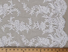 Lace Double-Scalloped Alencon Netting Lace Floral Flowers Fabric BTY D170.37
