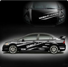 HKS Evolution Mugen Stripe Car Sticker Decal Package Car0014W For Dark Color Car