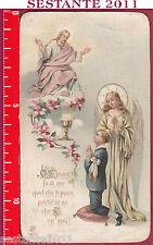 1507 SANTINO HOLY CARD PRIMA COMUNIONE EUCARESTIA AR 600 ANTICO PICCOLO STRAPPO