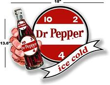 "(DP-107) 18"" DR PEPPER 10 2 4 ICE COLD BOTTLE IN HAND COOLER POP soda decal"