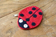 NEW HANDMADE 100% WOOL LADYBIRD FELT LOVELY COIN NOTE PURSE GIFT ZIP RED