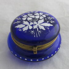 Antique French Bohemian Cobalt Blue Glass Round Hinged Box Painted White Flowers
