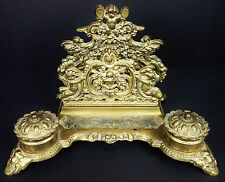 Vtg Italy Brass Double Inkwell With Letter Holder Ornate Nouveau Cherubs Pen Hol