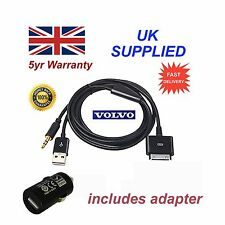 VOLVO iPhone iPod USB & Aux Cable replacement & Adapter in black