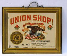 vintage sign UNION SHOP! Barbers Hairdressers Cosmetologists TIN Litho excellent