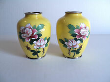 "PAIR JAPANESE SATO CLOISONNE MINIATURE 3.75"" VASES, SIGNED ON BASE"