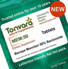 60 Tabs Bacopa Monnieri Extract 50% Bacoside - Improve Memory - Lower Stress
