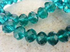 60 pce Prussian Blue Faceted Crystal Cut Abacus Glass Beads 10mm x 7mm