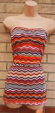 DOROTHY PERKINS CORAL TRIBAL AZTEC ETHNIC BANDEAU TUBE BODYCON TOP BLOUSE VEST L
