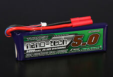New Turnigy nano-tech 5000mAh 2S 7.4v 25C 50C Lipo Battery Pack HXT 4mm Traxxas