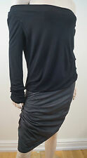 JAY AHR Black Viscose & Silk Cowl Neck Long Sleeve Leather Skirt Dress Sz:L
