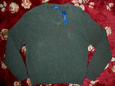 $98 Polo Ralph Lauren Mens V-neck Sweater Size Large L Authentic 100% Wool