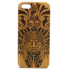 Aztec Pattern Case for iPhone 5 5S SE Bamboo Wood Cover Tribal Warrior Mask