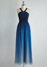 Modcloth Brand Plus Size 3X Blue Ombre Halter Long Maxi Dress Formal Prom