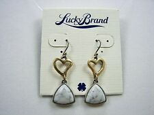 Lucky Brand Tough Love Gold Tone Heart & White Marbled Stone Earrings MSRP $25