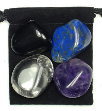 PHYSICAL PAIN RELIEF Tumbled Crystal Healing Set = 4 Stones + Pouch + Card
