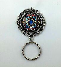 Stained Glass Art Pendant Badge Eyeglass Holder Magnetic Pin Design #1