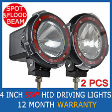 "55W PAIR 4"" HID SPOT& FLOOD  BEAM OFFROAD SPOTLIGHT 4 INCH DRIVING LIGHTS 4WD"