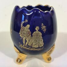 18K GOLD and COBALT BLUE Hand Painted Miniature Porcelain Mini CUP 3 Footed Egg