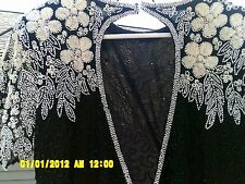 Sweelo black silk with white floral beads & sequins low back lined vintage dress