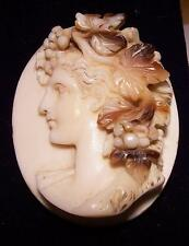 FINE ANTIQUE VICTORIAN HIGH RELIEF CARVED CONCH SHELL LOOSE CAMEO AMPHICTYONIS?