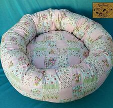 "Starbarks Pet Beds Pink Shabby Patch Small 20"" Washable Nest Bolster Dog Bed USA"