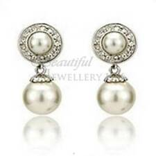 Stylish Off-White Ivory Drop Pearl Silver Plated Dangle Earrings Bridal SE01