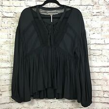 Free People Womens Black Don't Let Go Long Sleeve Pleated Boho Peasant Top Small