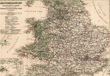 Echte 142 Jahre alte Landkarte von ENGLAND and WALES 1874
