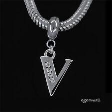 Fine Sterling Silver CZ Initial Letter V European Charm Bracelet Stopper #94238
