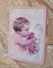 SHABBY VINTAGE WOOD FRAME PINK ROSE PRINT LITTLE GIRL CHIC PARIS COTTAGE DECOR