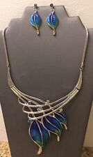 Blue Green Enamel Necklace And Earring Set