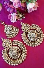 Big Pakistani Pearl Tika set indianJewellery Earring Tikka Set Stone Gold  UK