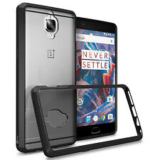 Black Hybrid TPU Bumper Hard Back Phone Cover Case for OnePlus 3T / (Three)