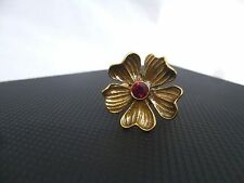 Pilgrim Jewelry Brass Tone Adjustable Flower Ring w/ Red Crystal Center: 449304